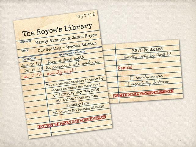 Wedding Invitation Retro Library Card Modern Vintage Rustic