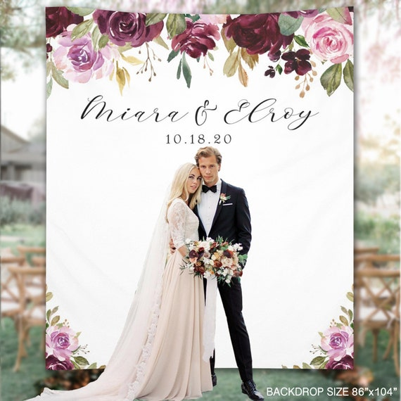 Wedding Backdrop Plum Floral Reception Banner Photo Booth | Etsy