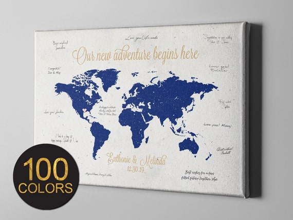 SALE 50% Off Canvas Guest Book, Rustic World Map Wedding GuestBook,  Destination Wedding Signature GuestBook, Wedding Gift Ideas - GB137