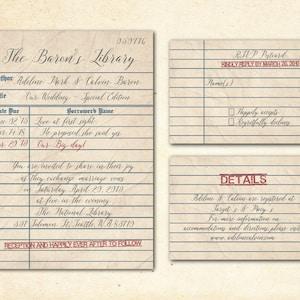 Unique Themed Wedding Modern Vintage Rustic Retro Library Card Wedding Invitation WILibraryCard Invitation Prints Printable PDF