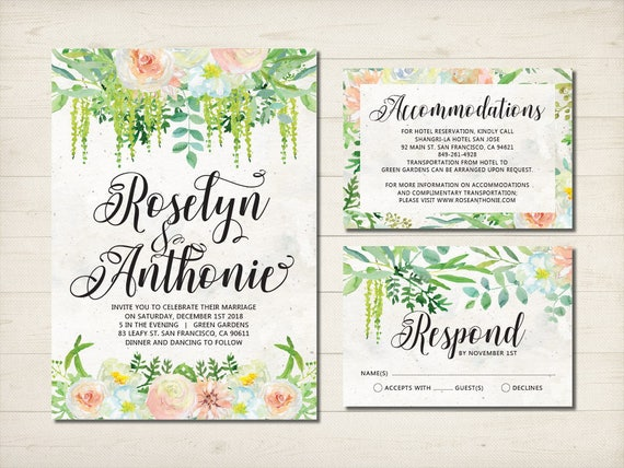 wedding invitation greenery floral summer invitation green etsy