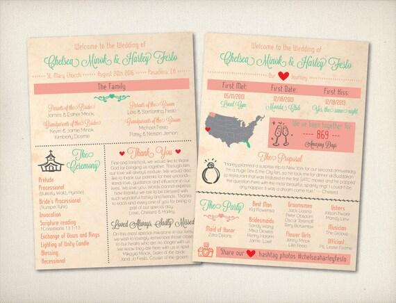 wedding program card cute infographic program modern rustic etsy