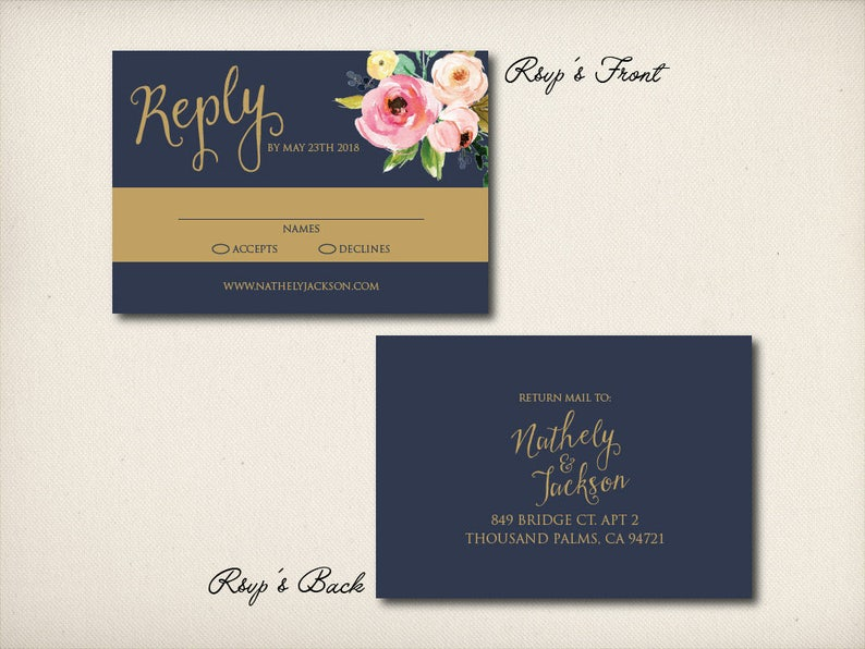 CW37 Afforable Invitation Prints Wedding Invitation Elegant Gold Invitation Sweet Medley Flowers Wedding Invitation DIY Printable PDF