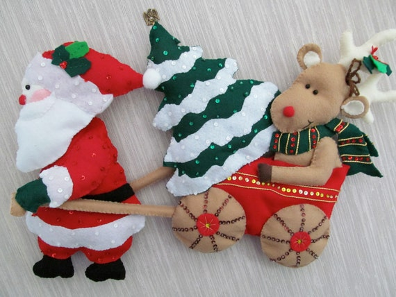 Christmas Wall Hanging Decorations.Rudolph And Santa Claus Felt Wall Hanging Decoration Completed Handmade From Bucilla Kit