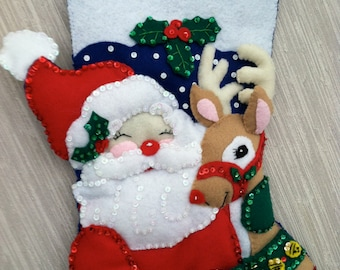 Santa and Rudolph Completed Handmade Felt Christmas Stocking from Bucilla Kit