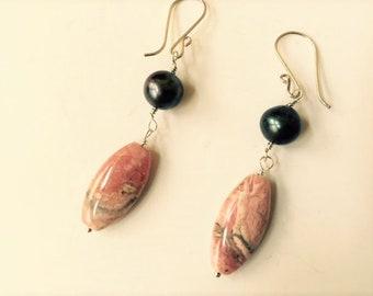 Earring banded pink rhodochrosite