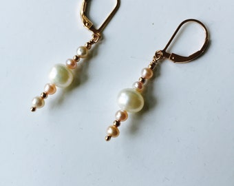 Rose gold and pink pearl earrings