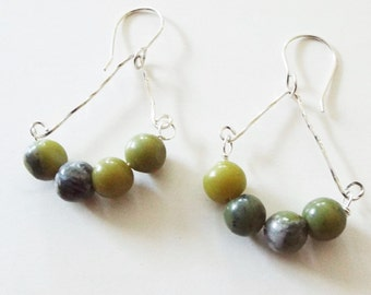 Earrings in sterling and green aventurine