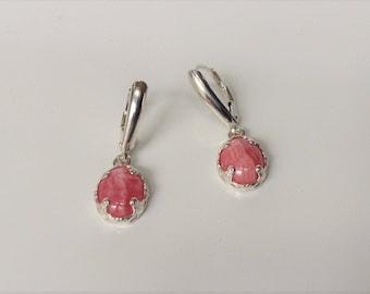 Rhodochrosite Earrings in Sterling with lever back