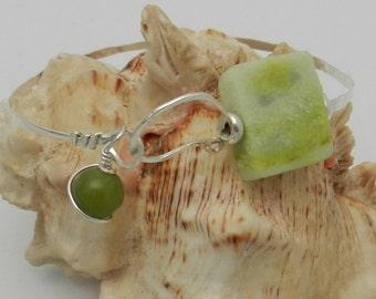 Bracelet in sterling and green aventurine