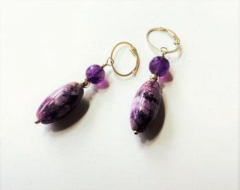 Amethyst and Charoite Earrings