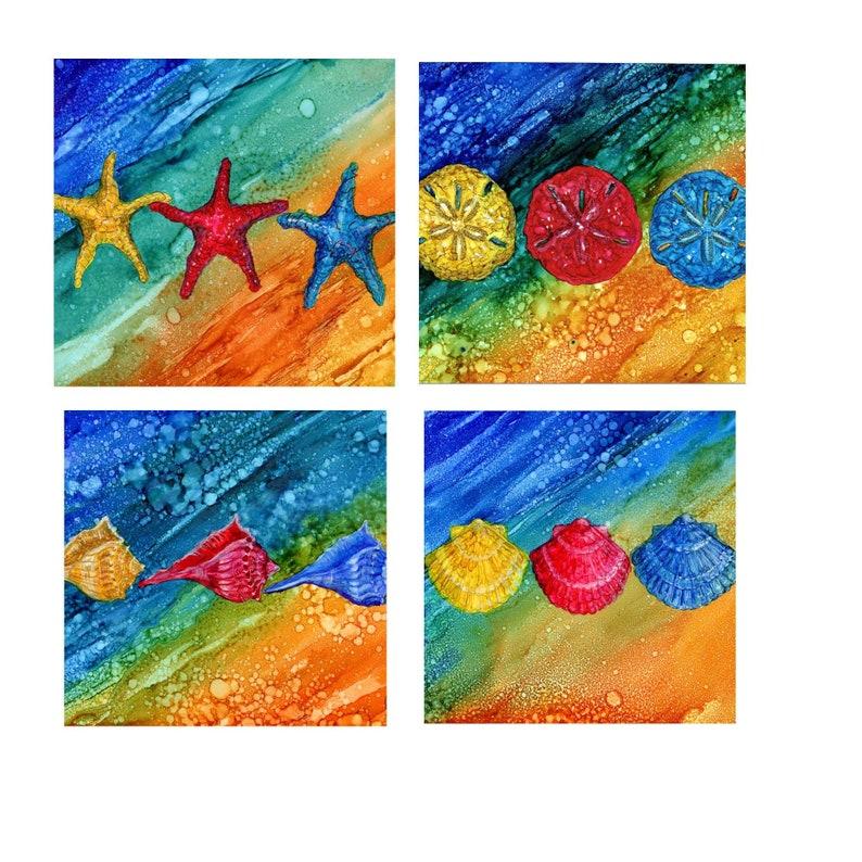 sea shells coaster set four 4 1 4x 4 1 4 ceramic etsyCoaster Modern Art Paintings #14