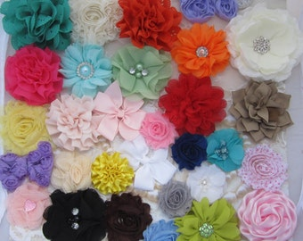 FLOWER GRAB BAG for do it yourself Headbands and Clips - 24 flowers