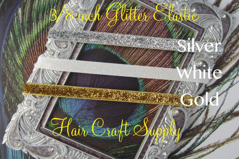 GLITTER ELASTIC by the Yard  3/8 You Choose Colors image 0