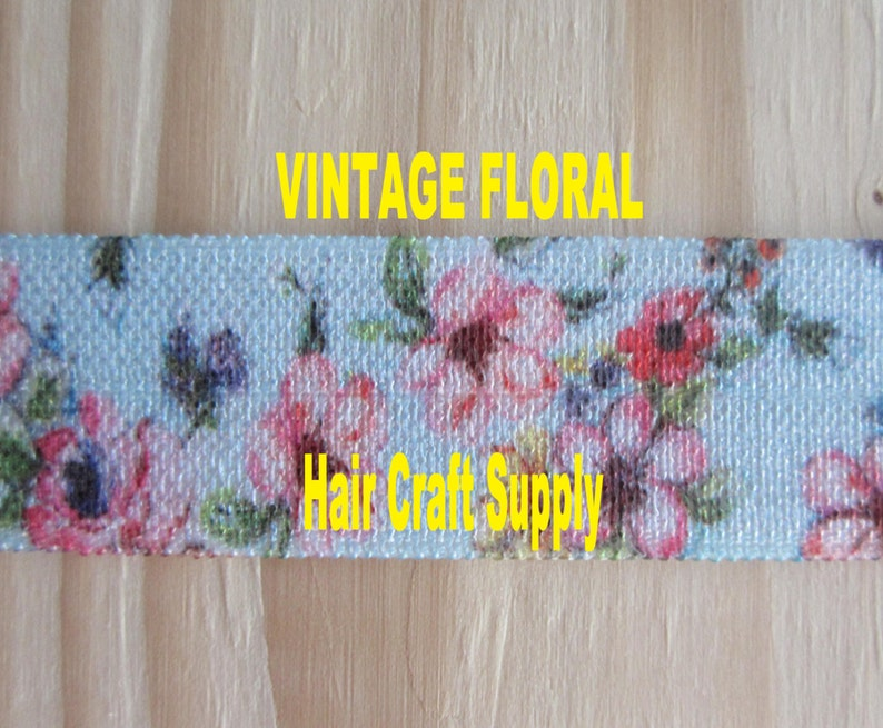 VINTAGE FLORAL ELASTIC From 1  5 yards  Blue with Pink image 0