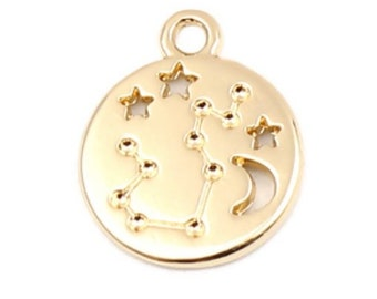 925 Sterling Silver Zodiac Charm with Heavy 18K Gold Plated Zodiac Charms for Bracelet Necklace 2pcs 18K Gold Vermeil Style Virgo Charms