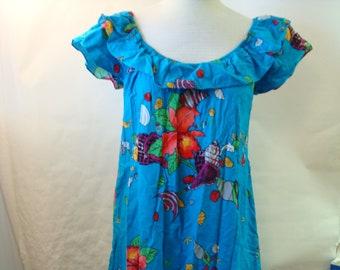 6cd7aef57e6 Vintage Cotton Sundress Hilo Hattie Hawaii Bright Floral Ruffle Elastic  Neck Medium