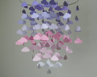 Purple/Lavender/Pink/White Ombre Cloud Mobile (Large) // Nursery Mobile - Choose Your Colors