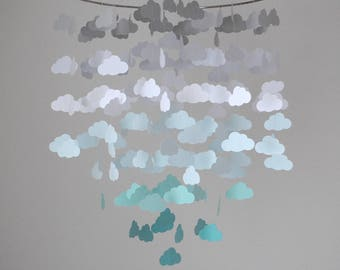 Gray, White, Aqua/Turquoise/Teal Ombre Cloud Mobile (Large) // Nursery Mobile // Baby Mobile - Choose Your Colors
