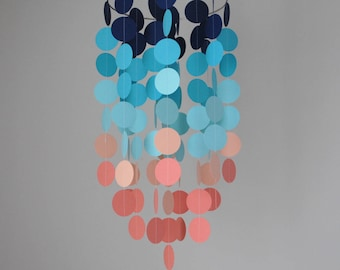 Navy/Teal/Turquoise/Peach/Coral Chandelier Mobile// Nursery Mobile - Choose Your Colors