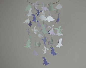 Dinosaur Mobile - Mint, Lavender, White // Nursery Mobile - Choose Your Colors