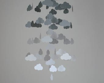 Gray Ombre Clouds Mobile // Nursery Mobile - Choose Your Colors