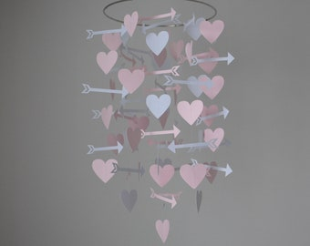 Hearts and Arrows Mobile - Pink and Gray // Nursery Mobile // Baby Mobile - Choose Your Colors