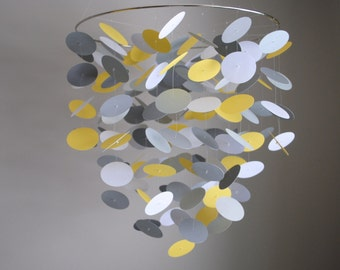 Yellow and Gray Floating Dot Mobile (Large) // Nursery Mobile - Choose Your Colors