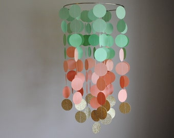 Mint Green, Peach, Gold Chandelier Mobile // Nursery Mobile // Baby Mobile - Choose Your Colors