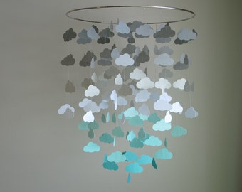 Gray & Teal/Aqua/Turquoise Cloud Mobile (Large) // Nursery Mobile - Choose Your Colors