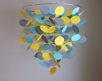 Yellow, Grey, Aqua/Teal/Turquoise Floating Dot Mobile (Large) // Nursery Mobile // Baby Mobile - Choose Your Colors