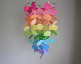 Pastel Rainbow Floating Dot Mobile // Nursery Mobile