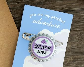 Grape Soda Badge, Anniversary Gift for Her, Bottle Cap Pin, Groom Wedding Gift, Bride Wedding Gift, Bridesmaid Gift, Lapel Pin, Ellie Badge