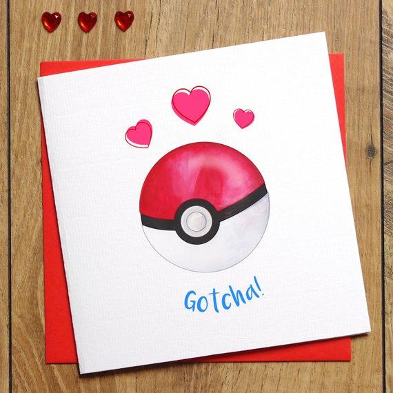 Pokemon Valentines Card Pokemon Engagement Card Gotcha I Etsy