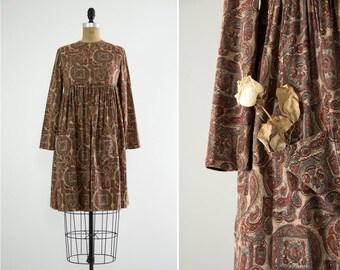fef516b04d9 vintage 1960s paisley dress with medallion print