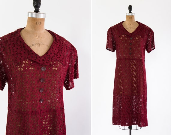 vintage 1930s dress large xl | 30s day dress with