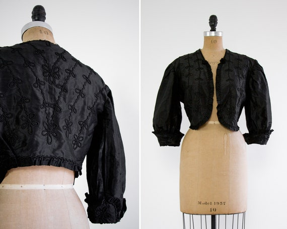 antique victorian black jacket | victorian mourning jacket | 1900s clothing