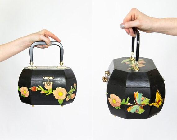 vintage box handbag | black wooden 1970s purse | decoupage butterfly purse | 70s handbag