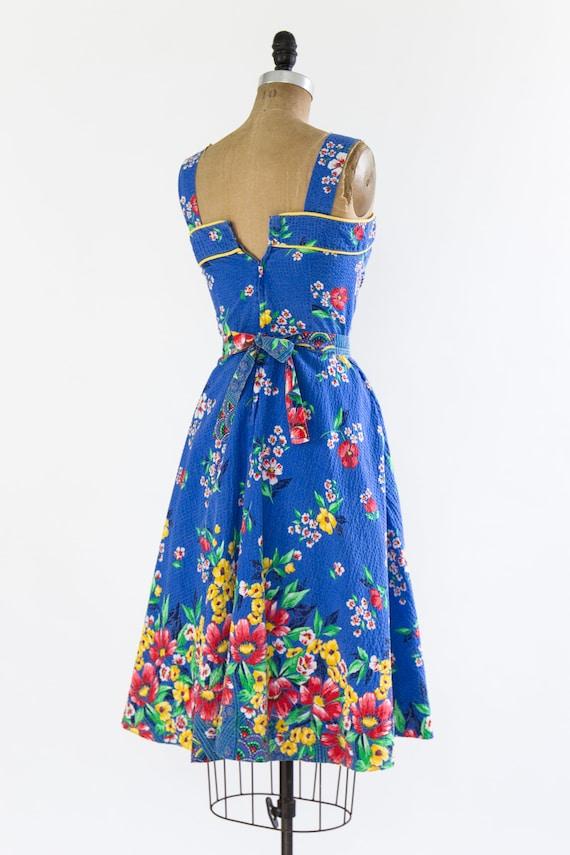 vintage 1940s sundress | 40s blue floral cotton s… - image 5