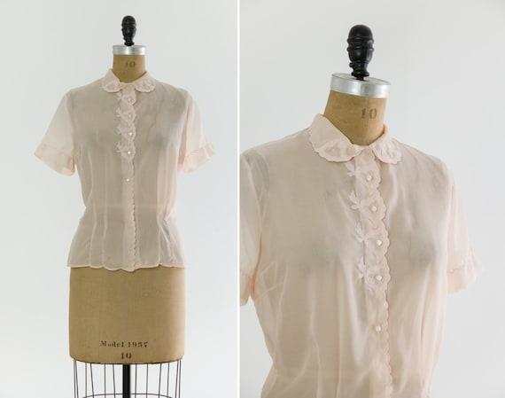 vintage 1950s light pink sheer blouse | 50s nylon shirt