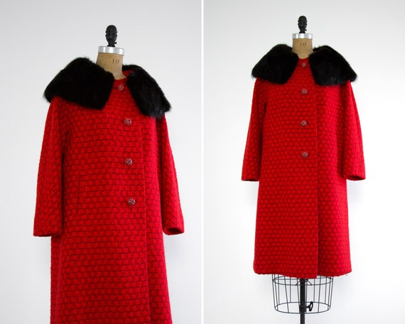 vintage 1960s mod coat | vintage red coat womens | 60s mink fur collar coat | 1960s wool coat