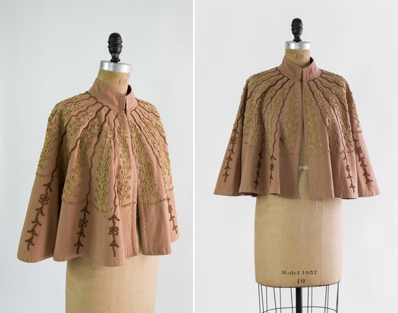 vintage 1800s victorian cape | wool beaded capelet | 1880s 1890s clothing | antique cape