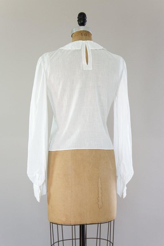 vintage Edwardian cotton blouse | antique white v… - image 4