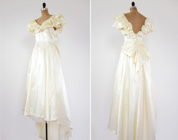 vintage 1980s wedding dress | off shoulder ruffle wedding dress | ivory satin wedding gown