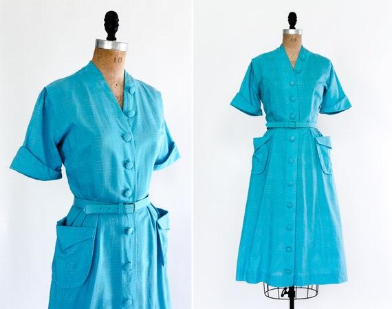 vintage 1950s blue dress | 40s day dress | 50s cotton dress | 1940s dress