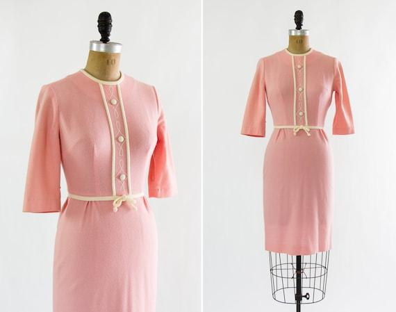 vintage 1960s pink dress | 1950s wiggle dress | 60s sheath dress