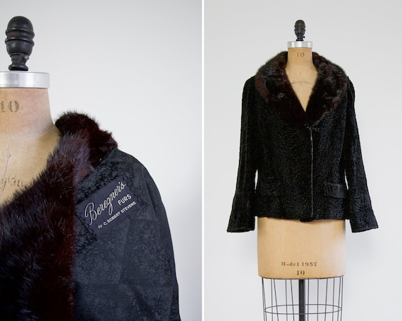vintage 1950s black faux fur coat | 1940s curly lamb coat | persian lamb coat with mink collar | astrakhan coat