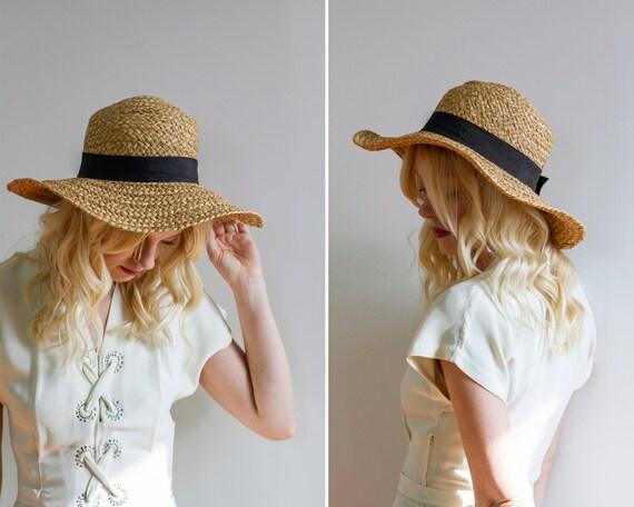 vintage straw hat | vintage sun hat | wide brim 70s hat | 90s hat