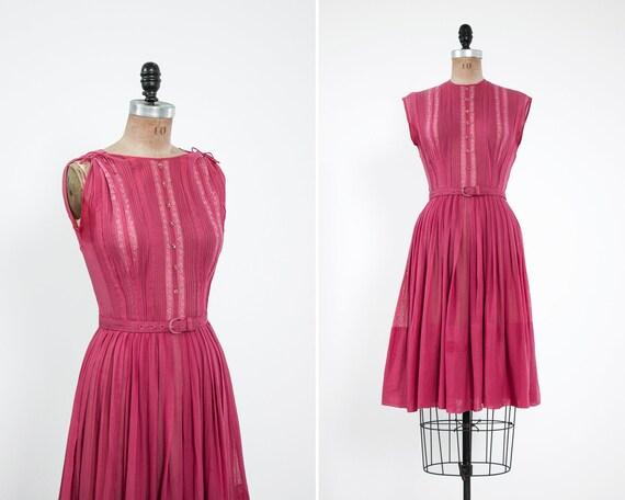 vintage 50s dress | 1950s day dress | pink 1950s dress