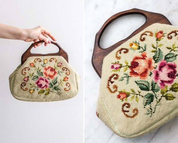 vintage 1950s green floral needlepoint handbag | 50s purse | floral tapestry bag | 1950s purse flowers